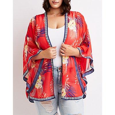 Plus Size Floral Open Front Kimono