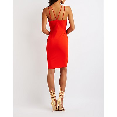 Crisscross Back Midi Bodycon Dress