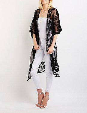 Lace Tie Front Kimono