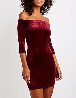 Velvet Off The Shoulder Bodycon Dress