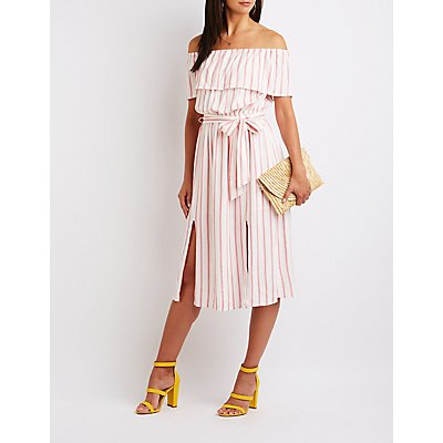 Striped Off The Shoulder Maxi Dress