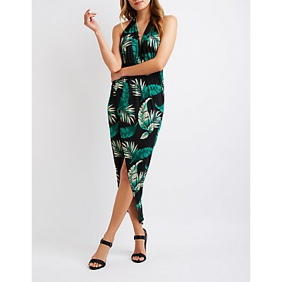 Tropical Print Halter Wrap Dress