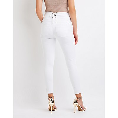 Lace Up Push Up Skinny Jeans
