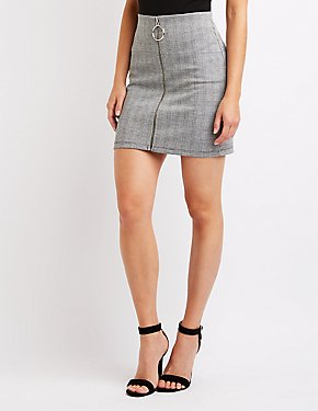 O Ring Zip Up Skirt