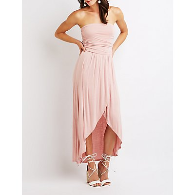 Ruched Strapless Wrap Maxi Dress