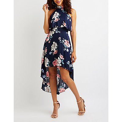 Floral Satin Maxi Dress by Charlotte Russe
