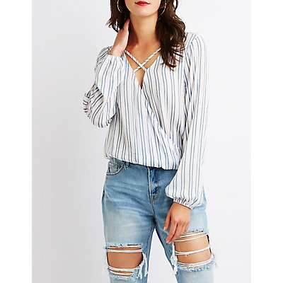 Striped Caged Wrap Top
