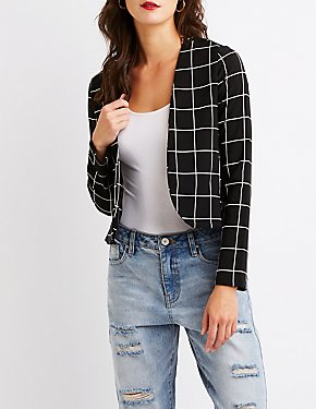 Windowpane Crop Blazer