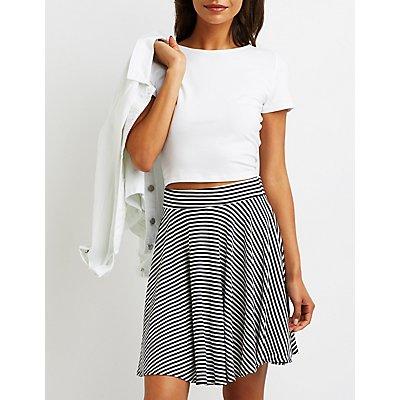 Striped Ribbed Skater Skirt
