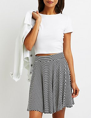 Striped Ribbed Skater Skirt