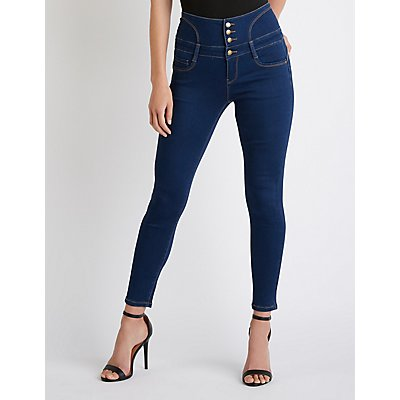 Lace Up High Waist Skinny Jeans