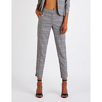 Plaid Slim Leg Trousers