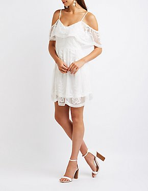 Floral Lace Cold Shoulder Skater Dress