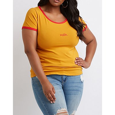 Plus Size Ugh Graphic Ringer Tee