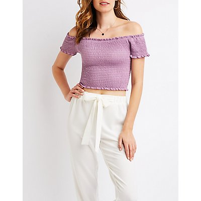 Smocked Off The Shoulder Crop Top