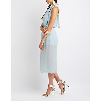 Tied Mock Neck Culotte Jumpsuit