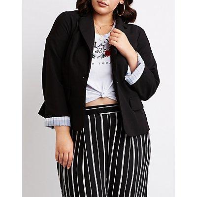 Plus Size Cuffed Blazer