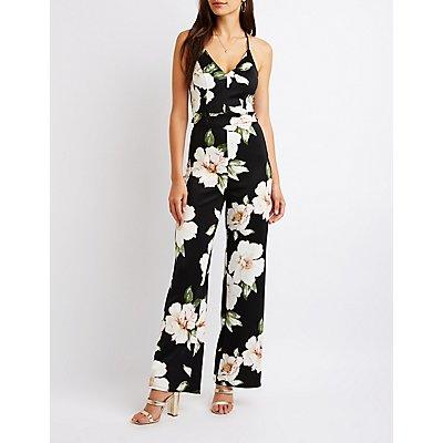 Floral Lace Open Back Jumpsuit