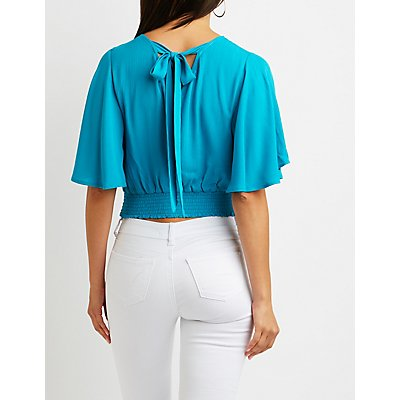 Open Back Bell Sleeve Blouse