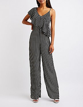 Striped One Shoulder Jumpsuit