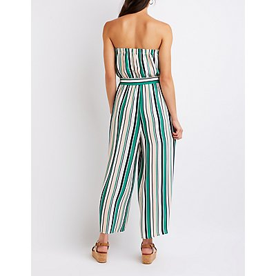 Striped Off The Shoulder Jumpsuit
