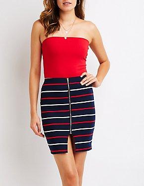 Striped Zip Up Pencil Skirt
