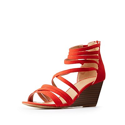 Strappy Crisscross Wedge Sandals