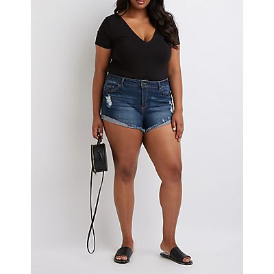 Plus Size Refuge Destroyed Shortie Shorts