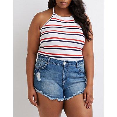 Plus Size Refuge Shortie Denim Shorts