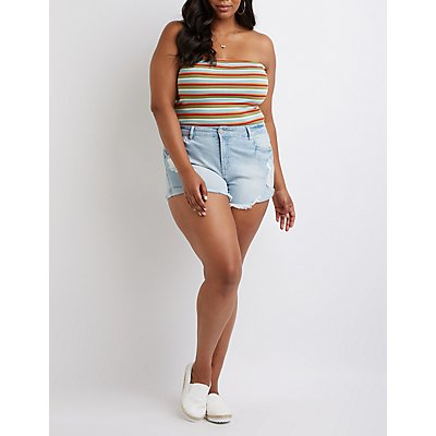 Plus Size Refuge Destroyed Shortie Shorts