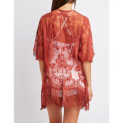Floral Lace Fringe Kimono