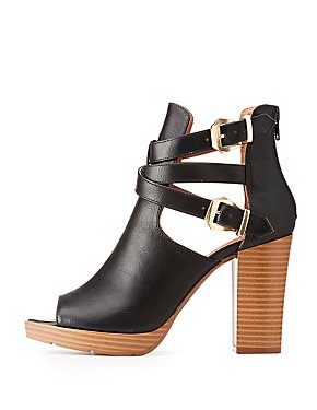 Buckled Peep-Toe Ankle Boots