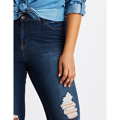 Plus Size Refuge Destroyed Skintight Legging Jeans