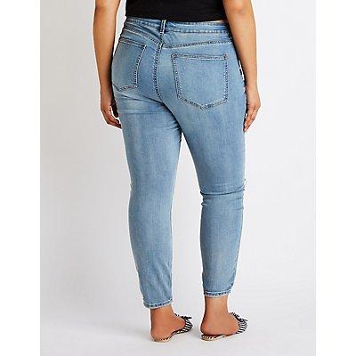 Plus Size Refuge Destroyed Skinny Boyfriend Jeans