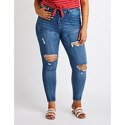 Plus Size Refuge Destroyed Skintight Legging Jeans