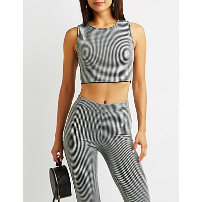 Houndstooth Crop Tank Top