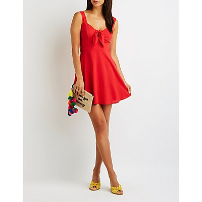 Cut Out Tie Front Skater Dress
