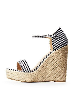 Gingham Espadrille Wedge Sandals