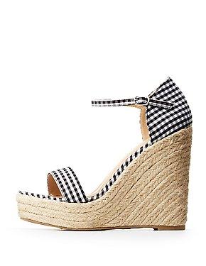 Gingham Espadrille Wedge Sandals