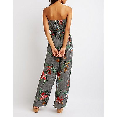 Striped Floral Strapless Jumpsuit