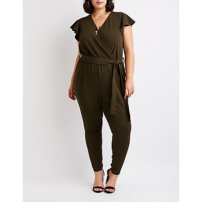 Plus Size Ruffle Wrap Jumpsuit