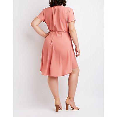 Plus Size Wrap Skater Dress