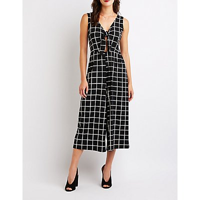 Windowpane Tie Front Jumpsuit