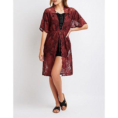 Scalloped Lace Tie Front Kimono
