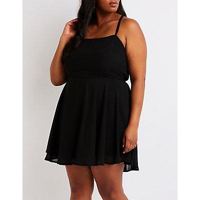 Plus Size Lace Up Back Skater Dress