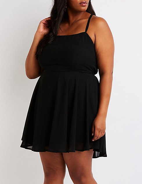Plus Size Lace Up Back Skater Dress Charlotte Russe