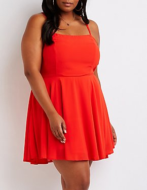 Plus Size Lace Up Back Skater Dress