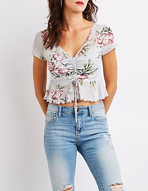 Floral Mesh Cinched Top