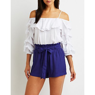 Tie Front Paperbag Shorts