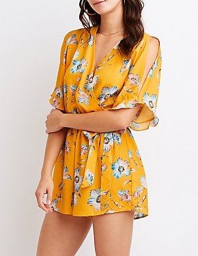 Floral Ruffle-Trim Surplice Cold-Shoulder Romper